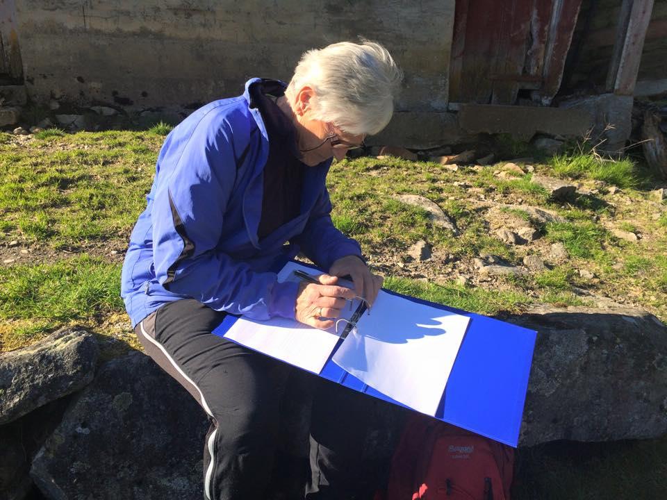 Marit Velle registrerer Pyttane. Foto: Marit Anita Skrede